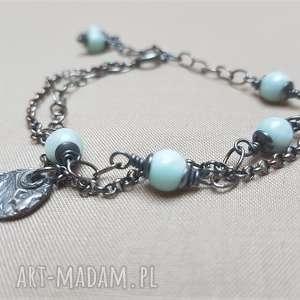 bransoletka ze srebra i larimaru 788, srebro oksydowane, delikatna biżuteria
