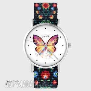 Zegarek - motyl folk czarny, nato zegarki yenoo zegarek