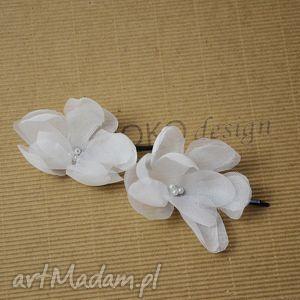 hand made ozdoby do włosów kwiat ecru