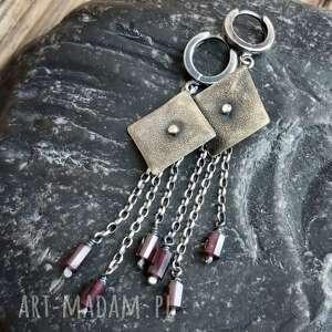 kolczyki srebrne z granatami, oksydowane, ze srebra, granat