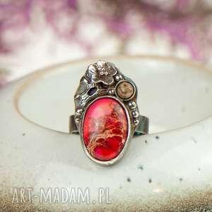 Prezent Pierścionek z jaspisem cesarskim w kwiatach a718, pierścionek-prezent