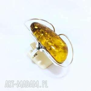 pierścionek srebrny z bursztynem rękodzieło, pierścionek, srebro925, rękodzieło