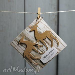 kartka ślubna z jeleniami, ślub, wesele, prezent, kartka, jeleń, myśliwy