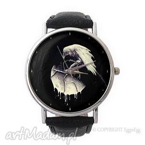 tajemnice nocy - skórzany zegarek z dużą, mroczny, kruk