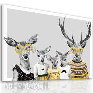 obraz na płótnie - 120x80cm rodzina jeleni 2 wysyłka w 24h 02366, jelenie