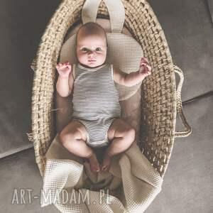ręcznie zrobione pokoik dziecka beżowy kocyk i poduszka wafel by libou