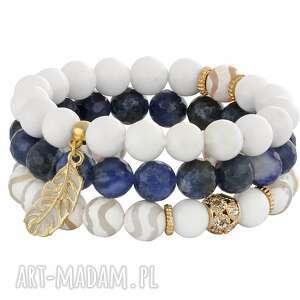 sailing - white & navy blue lavoga - zawieszka, sodalit listek, jadeit