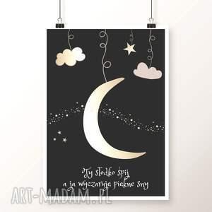pokoik dziecka plakat a4 od well-well / pięknych snów 2, ksieżyc, gwiazdy, chmury