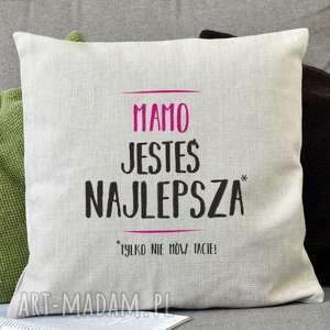 poduszki tylko nie mów tacie dekoracyjna poduszka lniana z trwałym nadrukiem