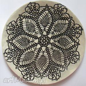 Koronkowa patera ceramika ana talerz, ceramiczny, ceramiczna