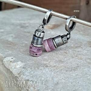 pod choinkę prezent, rubiny - kolczyki 09, rubin, srebro oksydowane, rubin