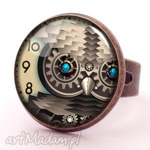steampunk owa sowa - pierścionek regulowany prezent, zegar