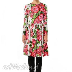 milita nikonorov bugumiła - szara sukienka w czerwone kwiaty, sukienki, kolorowe