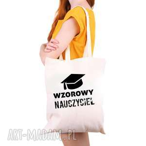 hand-made torba eko na zakupy dla nauczyciela wzorowy nauczyciel - dzień