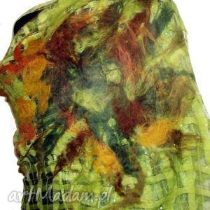 malowany filcem -zielony - szal, filc, malowany, pojedynczy, nafilcowany