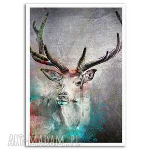 obraz drukowany na płótnie - szkic jelenia - abstrakcja 80x120cm 02533, abtsrakcja