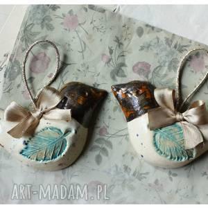 hand made ceramika para nakrapianych ptaszków