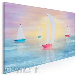 obraz na płótnie - żaglówki kolorowy pejzaż 120x80 cm (95501)