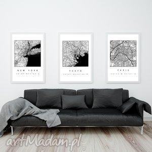 Prezent ZESTAW 3 GRAFIK B2 NY PARIS TOKYO , mapa, mapy, paryż, jork, grafiki