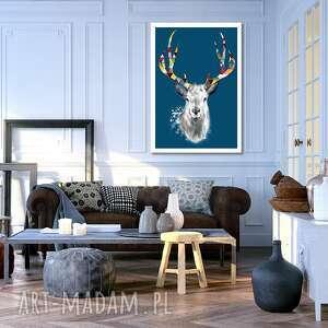 obraz drukowany na płotnie jeleń granatowym tle deer w formacie 50x70cm