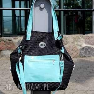 na ramię torba worek z plecionki miętowymi dodatkami pocket, damska torebka