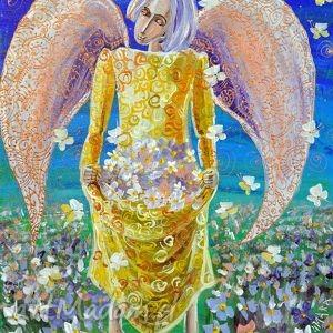obrazy anioł z kwiatem