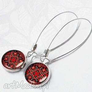 FOLK RED- piękne i delikatne kolczyki wiszące, folkowe, czerwień, czerwone, śliczne