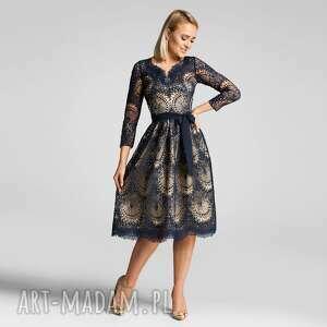 sukienka daria 3/4 midi josefina podkład złoty, elegancka, midi, koronkowa