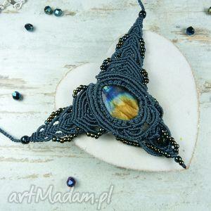 kameleon komplet biżuterii z labradorytem w ciemno morskim odcieniu, labradoryt