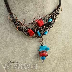 ręczne wykonanie naszyjniki duet - naszyjnik z koralem czerwonym i niebieskim