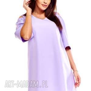 sukienka trapezowa juliet liliowa, trapezowa, oversize