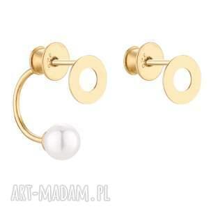 złote asymetryczne kolczyki karmy z perłami swarovski® - pozłącane
