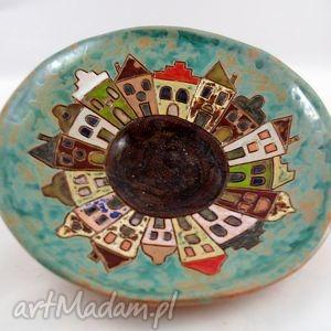 patera miasteczko , handmade, rękodzieło, ceramika, prezent, kamieniczki, dom