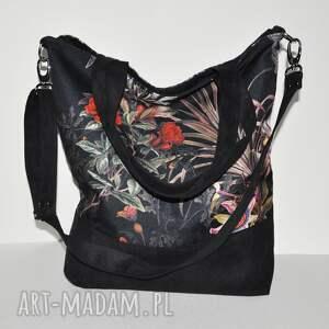 torba - worek xxl print mroczny ogród, worek, print, kwiaty, torebka na ramię