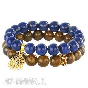 brown & navy blue jade - set - jadeit