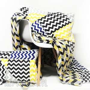 Komplet Zygzak 160x225cm poduszki od majunto, narzuta-patchwork, patchwork, kołderka