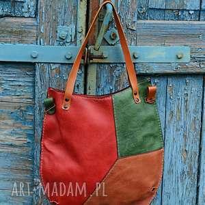 na ramię kolorowa torba, miejska torebka damska, worek skórzany