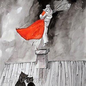 obrazy praca akwarelą i piórkiem przed świtem artystki plastyka adriany laube, koty