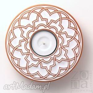 Prezent lampion geometryczny biały, lampion, świecznik, ceramika, ornament, prezent