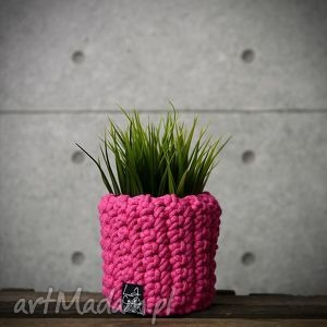 hand made dekoracje doniczka, różowa