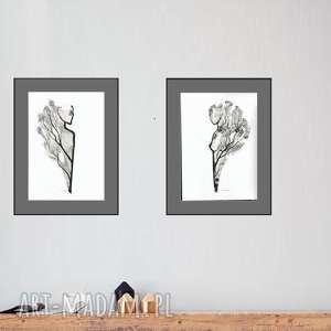 zestaw 2 oryginalnych grafiki czarno-białych, abstrakcja, akt, elegancki minimalizm
