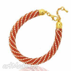 color gold - amber and bransoletka koralikowa, bransoletka