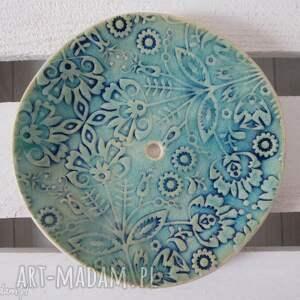 nieregularna folkowa mydelniczka, na-mydło, ceramiczna, turkusowa