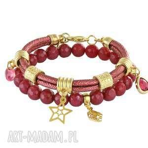 rubinowy - dual - rzemień, gwiazdka, zestaw, jadeit
