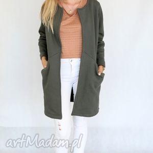 płaszc długi, narzutka L - XL khaki, bawełna, dzianina, wiosna, eko