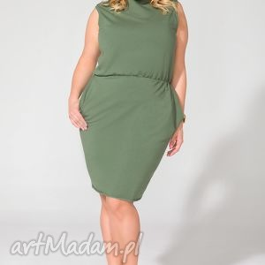 Sukienka T132 zielony PLUS SIZE, sukienka, dzianina, letnia, kieszenie, ściągnięta