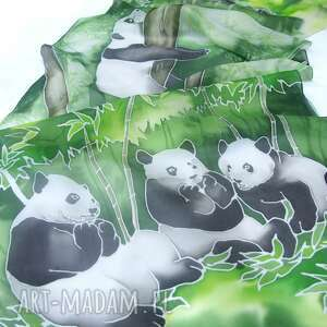 szal jedwabny panda, panda jedwabny, jedwab malowany pandy, bambus