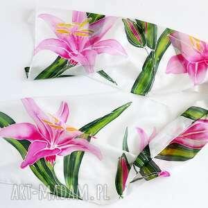 ręczne wykonanie szaliki jedwabny malowany szal - lilie