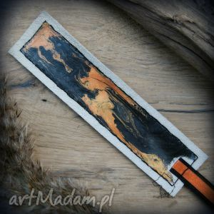 Skórzana malowana zakładka do książki Pomarańczowy Kosmos, zakładka, zakładki, skóra