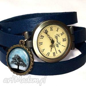 hand-made zegarki księżycowe drzewo - zegarek/bransoletka na skórzanym paksu
